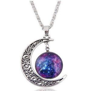 Purple Crescent Moon Cabochon Necklace